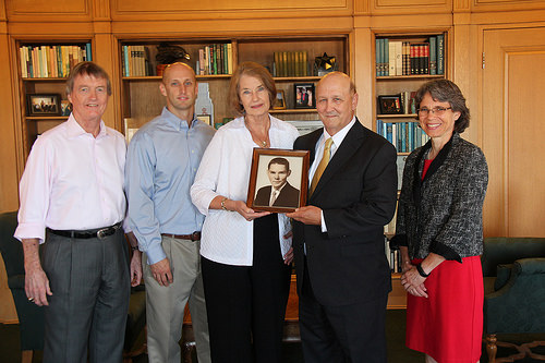 President Powers accepts Whaley gift
